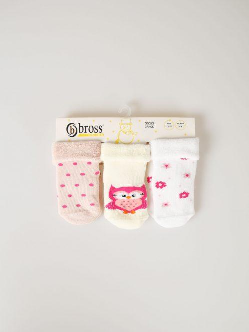 BROSS Baby Thermo-Stoppersocken Eule 3 Paar
