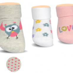 BROSS Baby Thermo-Stoppersocken Eule, Blumen, Love, 3 Paar